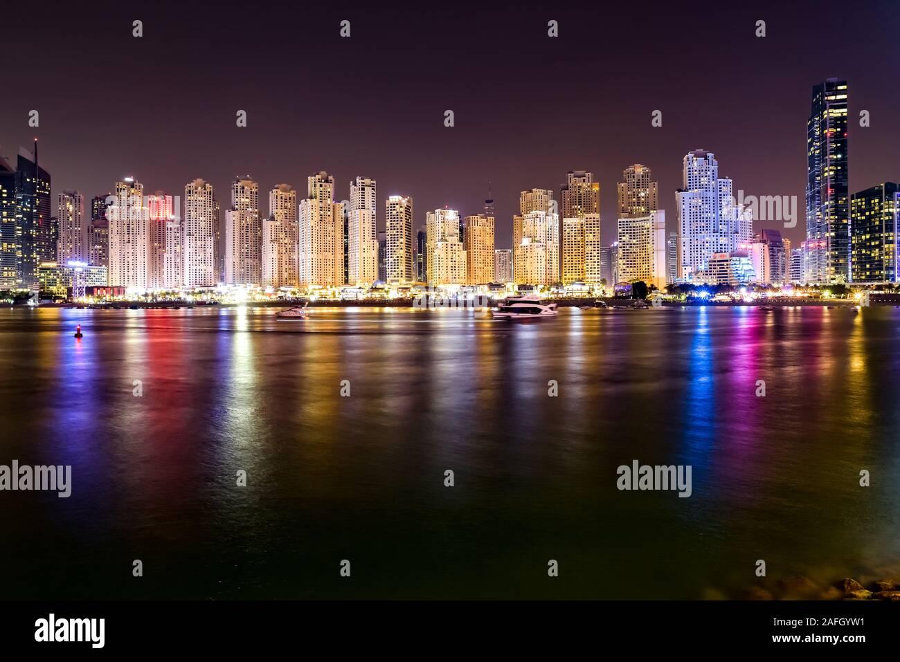 Dubai Skyline view at Bluewaters Island to Dubai Marina and Jumeira Beach Residence at night, Dubai, United Arab Emirates Stock Photo