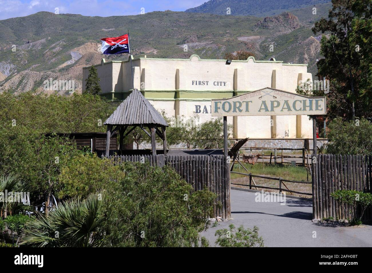 Entrance to Fort Apache at Mini Hollywood with mountains to the rear, Tabernas, Almeria Province, Andalucia, Spain, Europe. Stock Photo