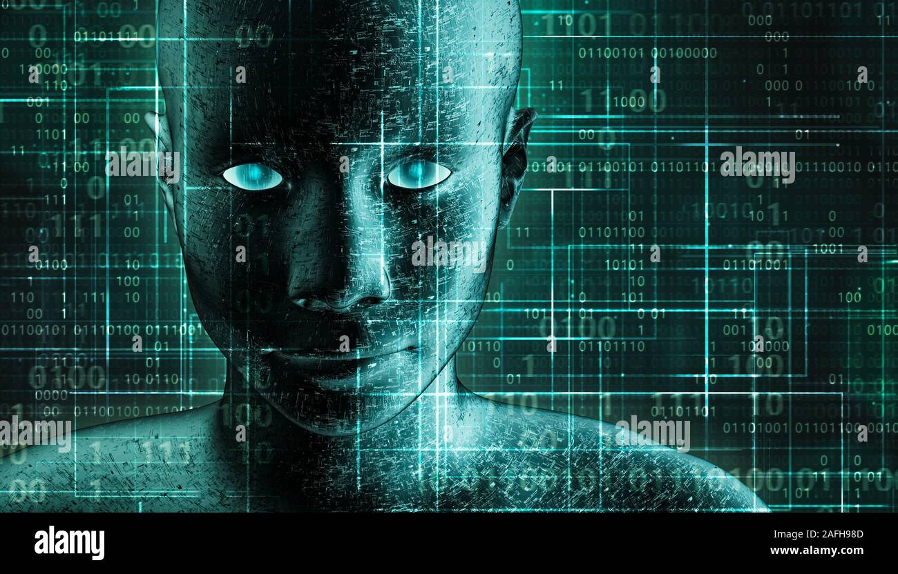 Futuristic and sci-fi human android portrait with pcb metallic skin and binary code green background. AI, IT, technology, robotics, science, transhuma Stock Photo