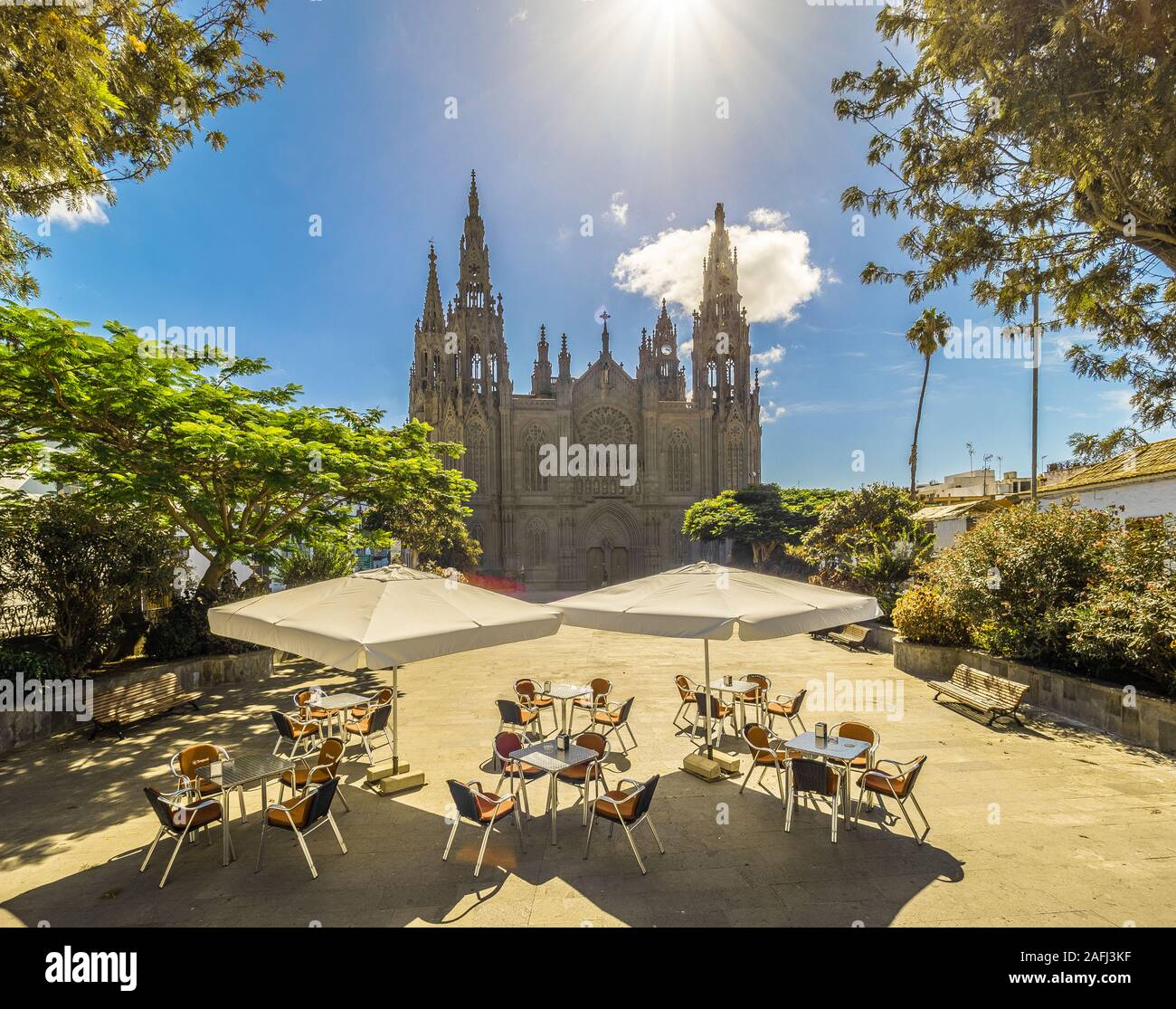 Landscape with Cathedral San Juan Bautista in Arucas, Gran Canaria, Spain Stock Photo