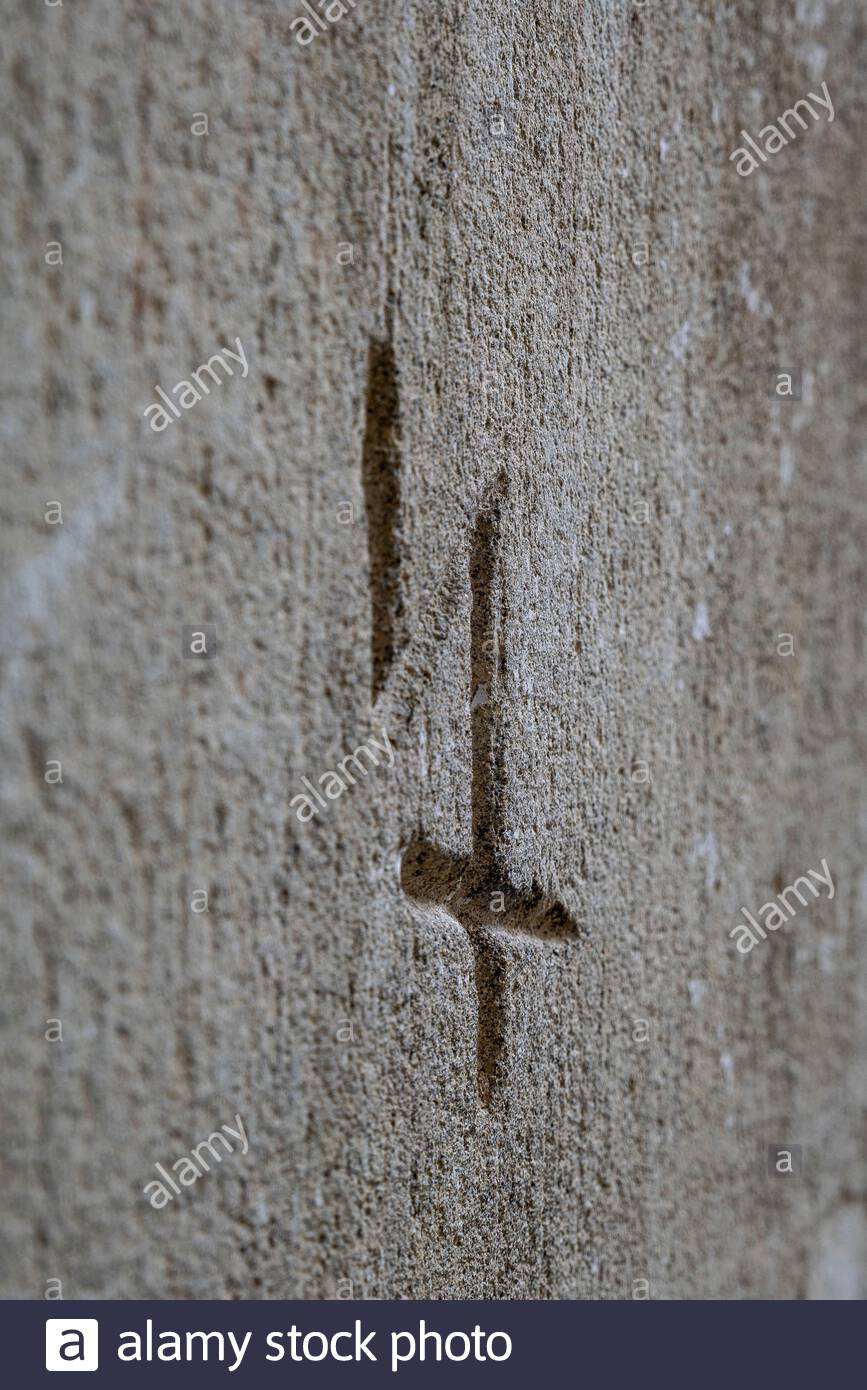 Stone cutter signature Stock Photo