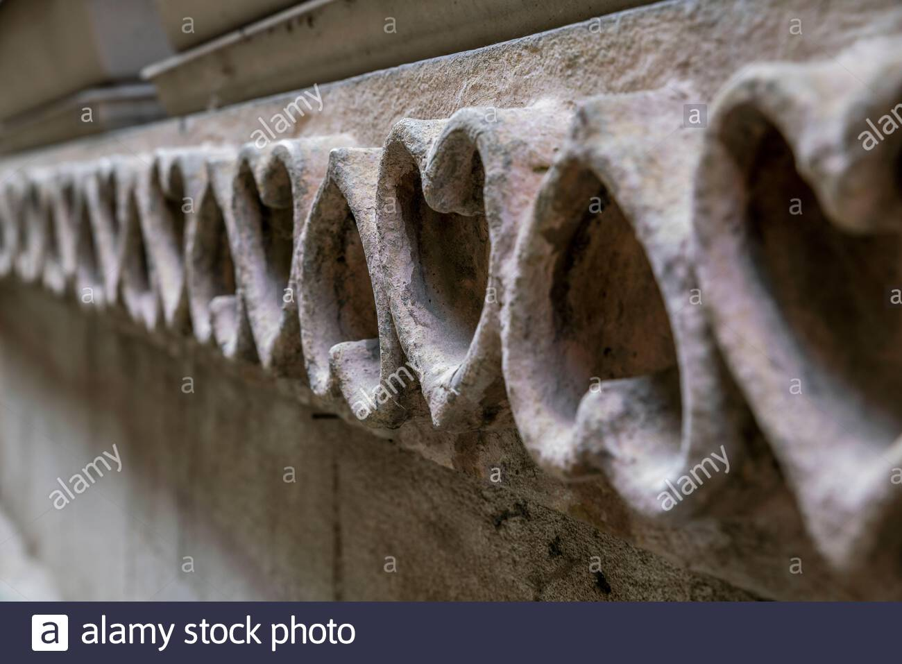 Frieze of hearts on a frontage Stock Photo