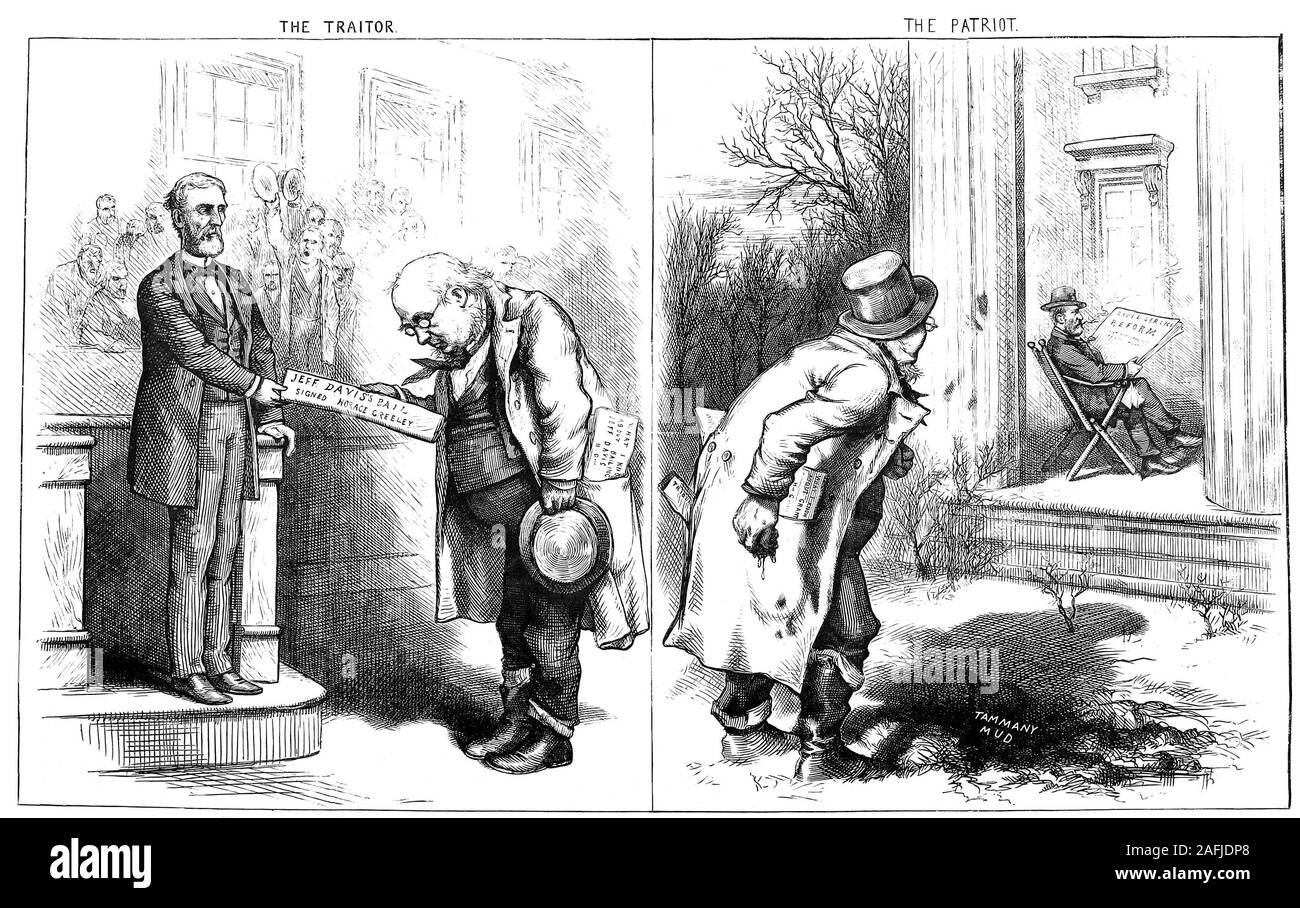 "While Horace Greeley asked for ""Magnanimity in Triumph"" others wanted to hang Jefferson Davis the rebel Confederate President Stock Photo"