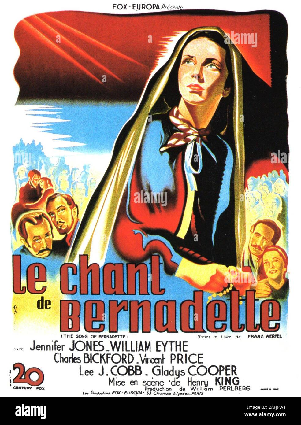 The Song of Bernadette Year : 1943 USA Director : Henry King Poster (Fr) Stock Photo