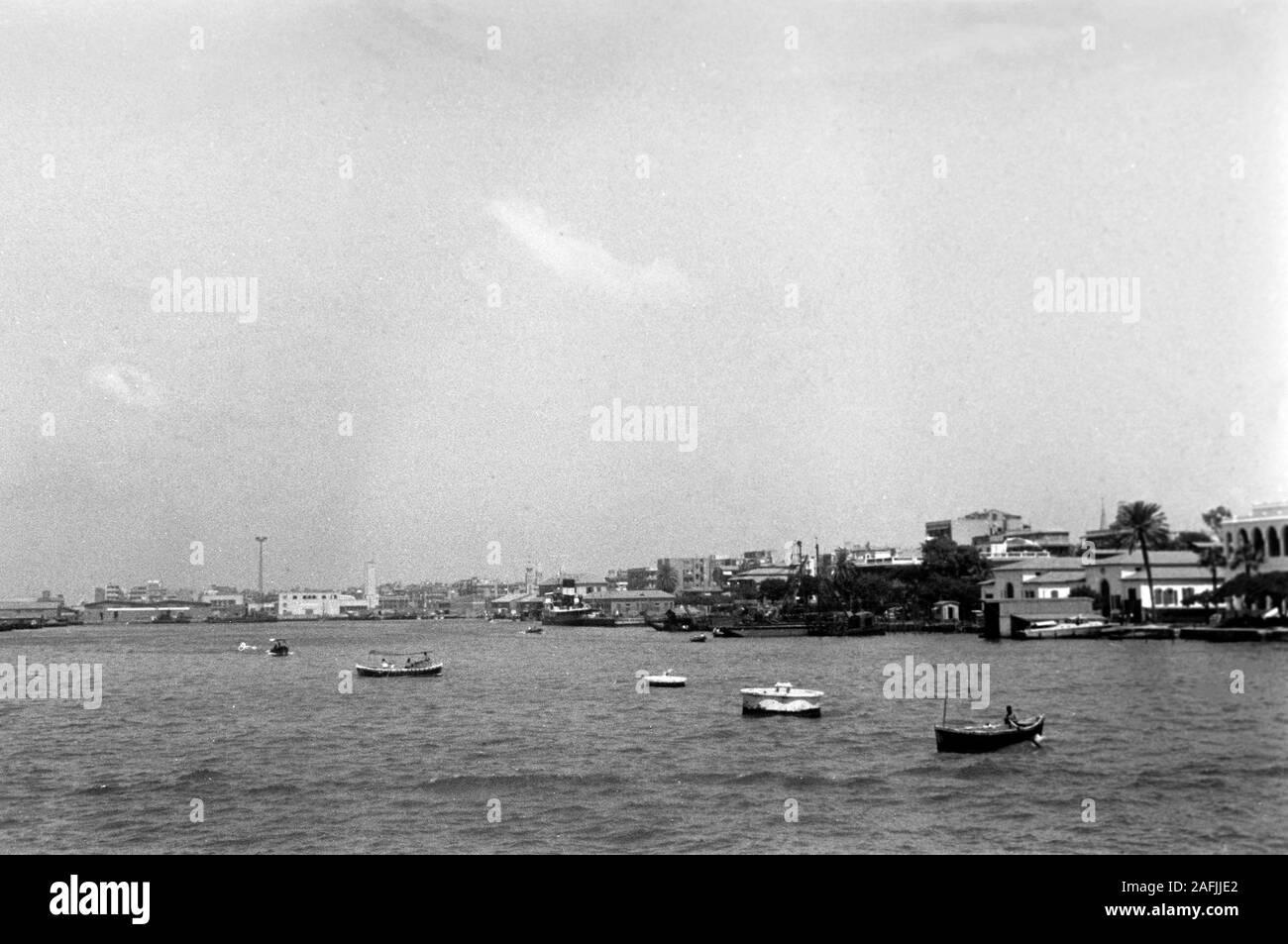 Port Said am Suezkanal, 1955. Port Said at Suez Canal, 1955. Stock Photo