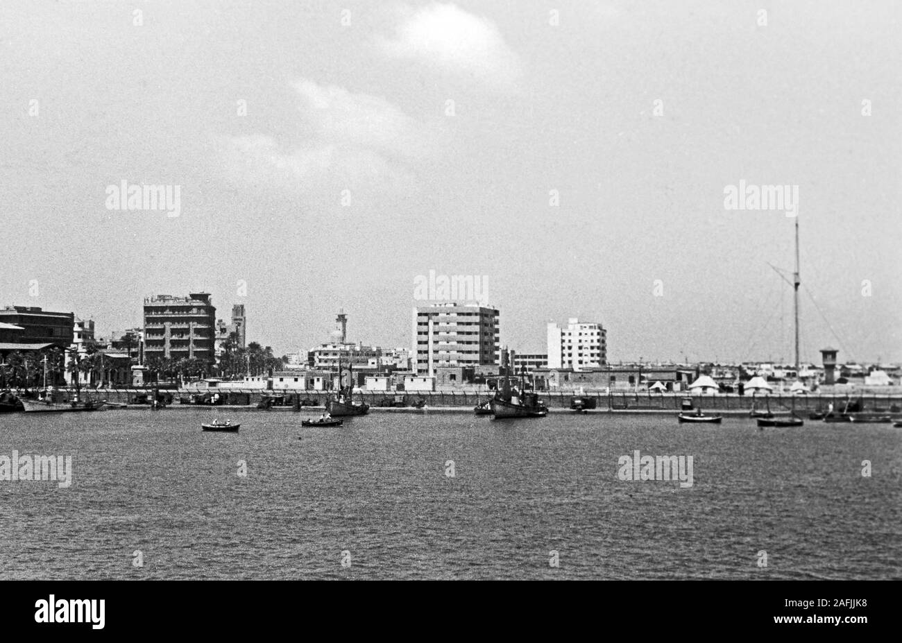 Port Said am Suezkanal, 1955. Port Said at Suez Canal, 1955. Stock Photo