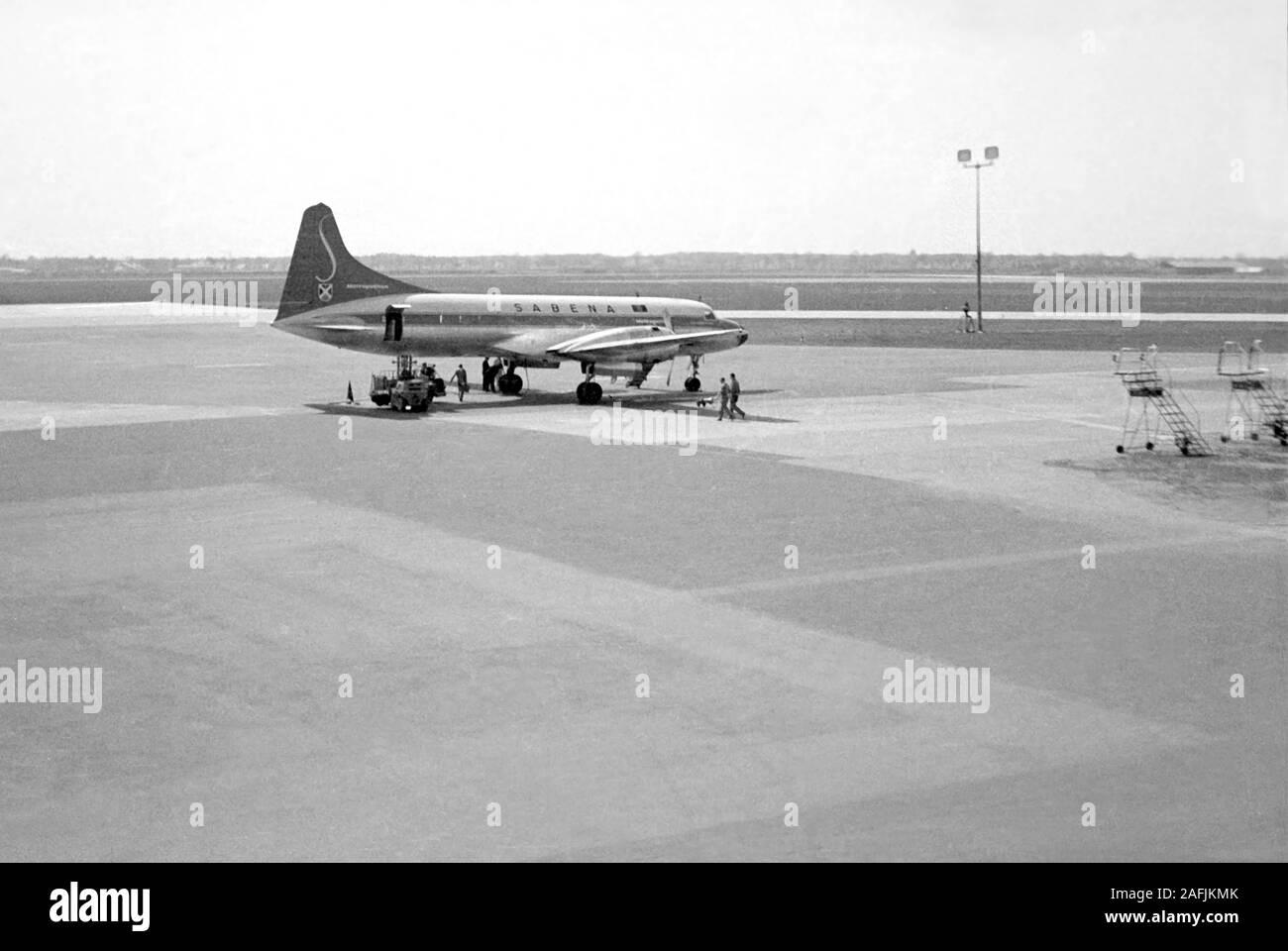 Sabena aircraft on the Munich-Riem Airport. Stock Photo
