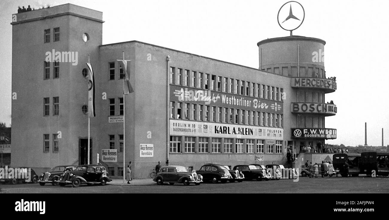 At the Avus (Atomobile traffic and training road) with Mercedes-Tower in Berlin. Stock Photo