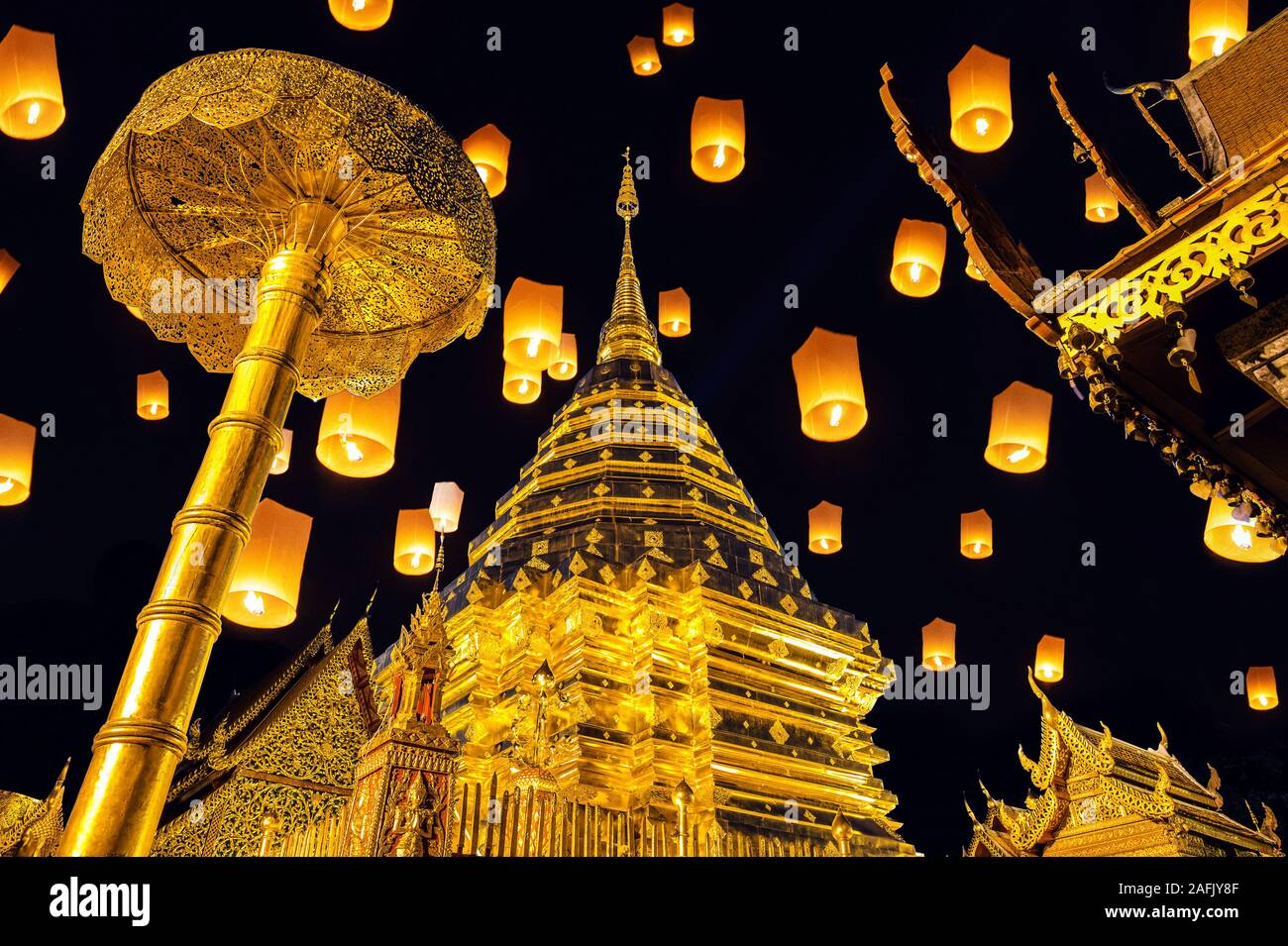 Yee peng festival and sky lanterns at Wat Phra That Doi Suthep in Chiang Mai, Thailand. Stock Photo