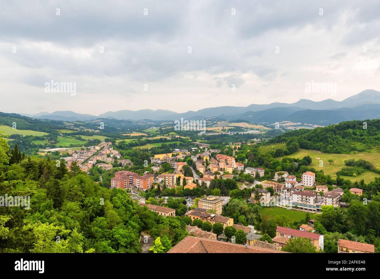 Sassoferrato (Ancona) - View from the Rocca Albornoz Stock Photo