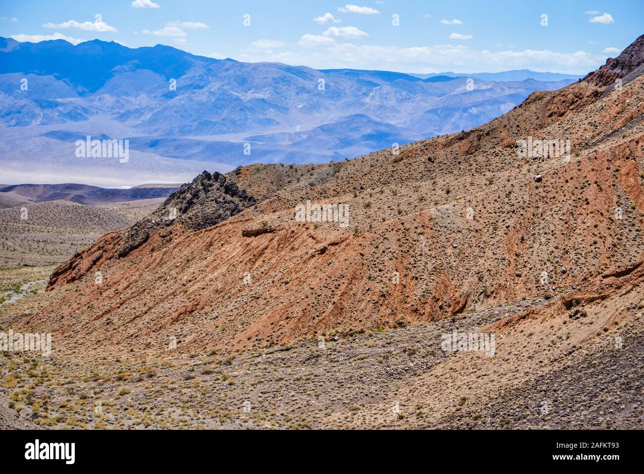 Towne Pass, the major passage over the Panamint Range via highway 190 in Death Valley, United States Stock Photo