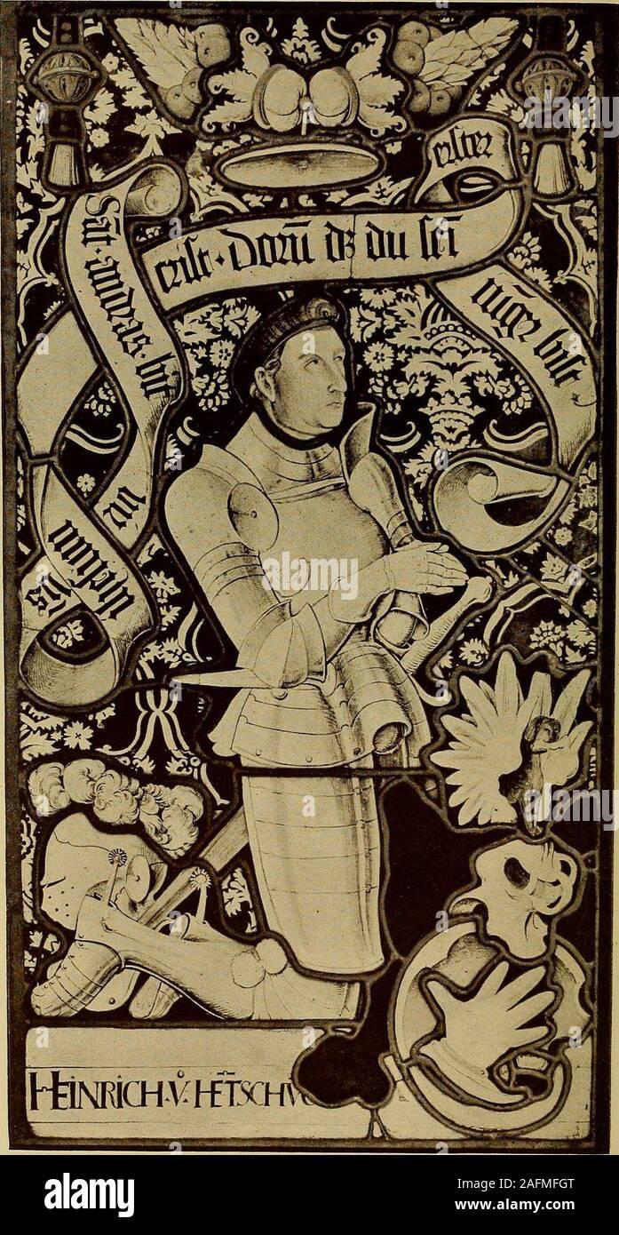 . Handbuch der glasmalerei für forscher, sammler und kunstfreunde, wie für künstler, architekten und glasmaler. Abb. 21. Geburt Christi. Glasgemälde in der Frauenkirche zu München. 1480—1490. Abb. 22. Geburt Christi. Glasgemälde im Münster zu Ulm. Um 1420. konnte, so spricht a priori nichts dagegen, daß auch ein anderervom Oberrhein ausgegangener und in Ulm tätig gewesener Meisternach der bayrischen Herzogsstadt berufen wurde, um dort einesder schönsten spätgotischen Legendenfenster zu schaffen, daswir überhaupt kennen. Legendenfenster waren ja die Spezialitätder oberrheinisch-elsässischen Mei Stock Photo