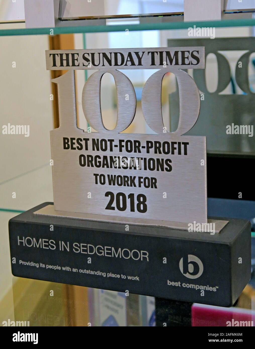 Sunday Times 100 Best Not For Profit Organisations,awards cabinet, Homes In Sedgemoor,Bridgwater,award winning social housing landlord Stock Photo