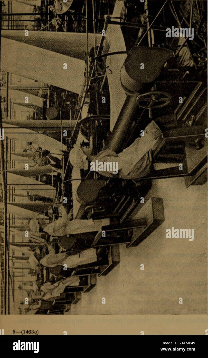 . The velvet and corduroy industry; a brief account of the various processes connected with the manufacture of cotton pile goods. tically brought to a standstill,this being done quickly by means of adjustable brakes.A point to note is that the arm carrying the knife ismounted on the frame of the machine, and in this pointdiffers essentially from hand-cutting, as the cuttinginstrument is in some respects rigid. This particularpoint has been found to be of great advantage in cuttingqualities like the old twill-back coating velveteen, oneof the most difficult sorts made. Not more than anegligible Stock Photo