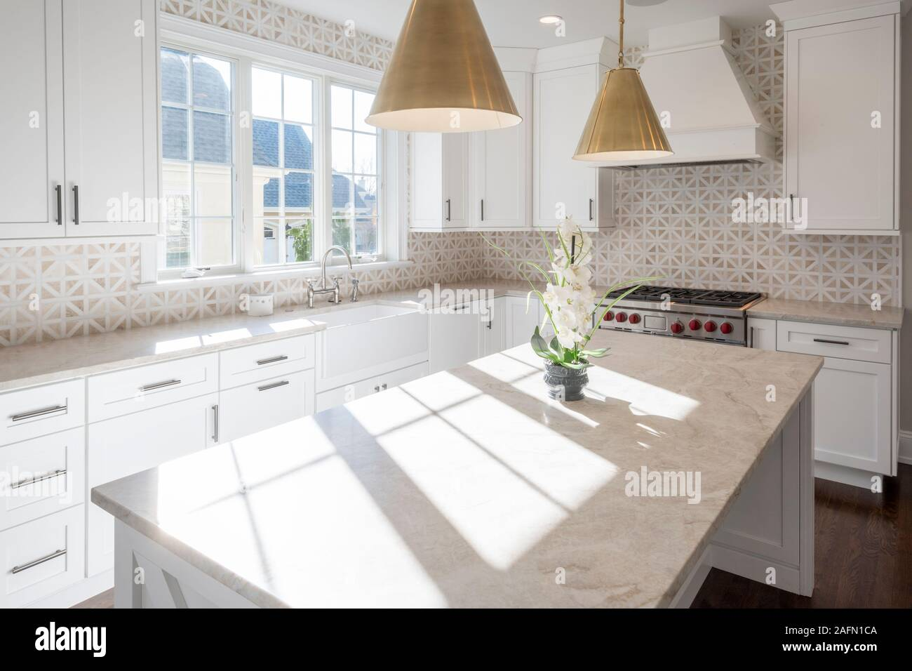 Sun Drenched Kitchen Interior Stock Photo