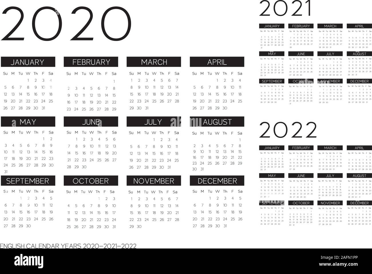 English Black Calendar 2020 2021 2022 vector text is outline font