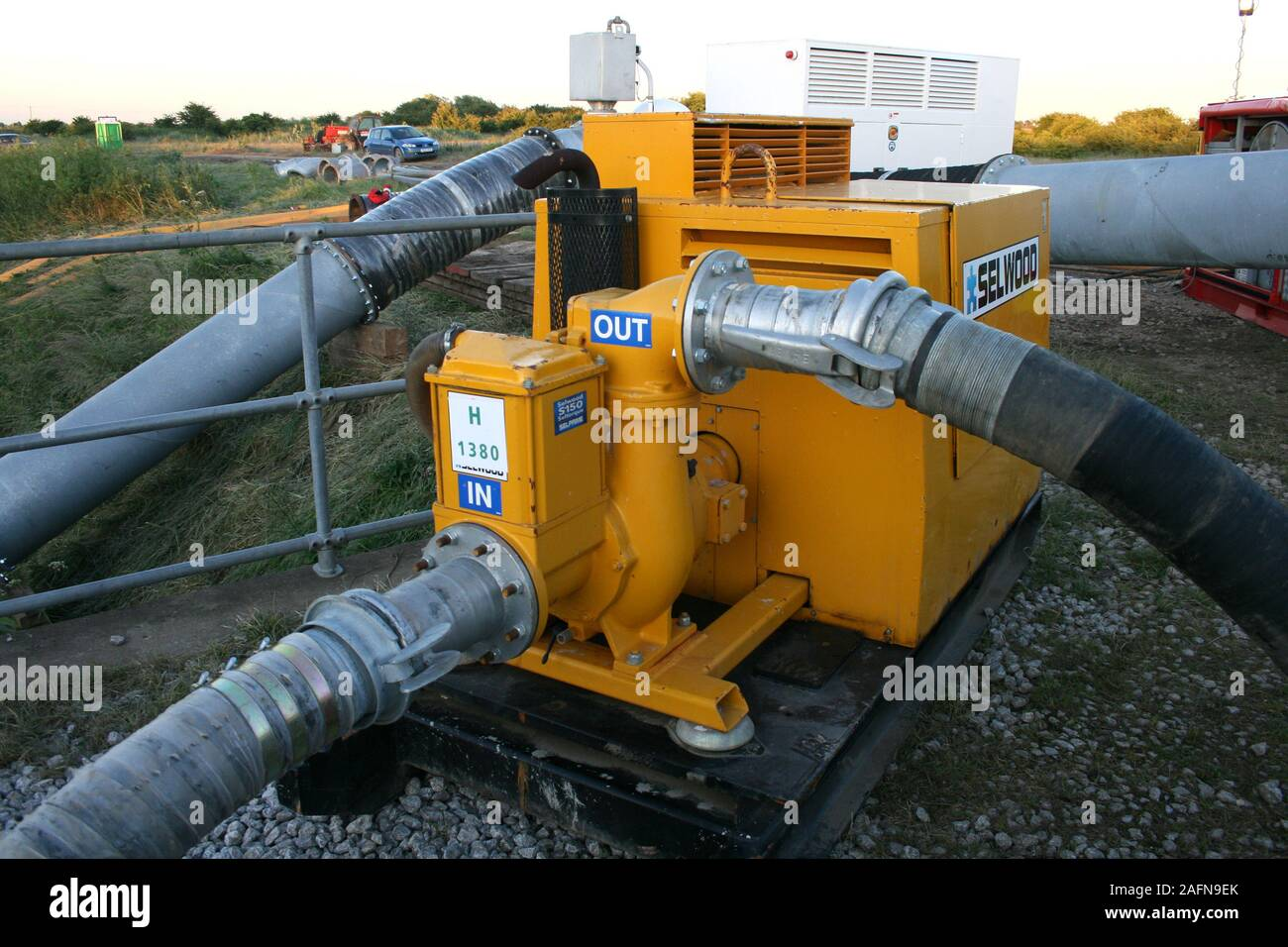 High volume pumps, flood disaster zone Stock Photo