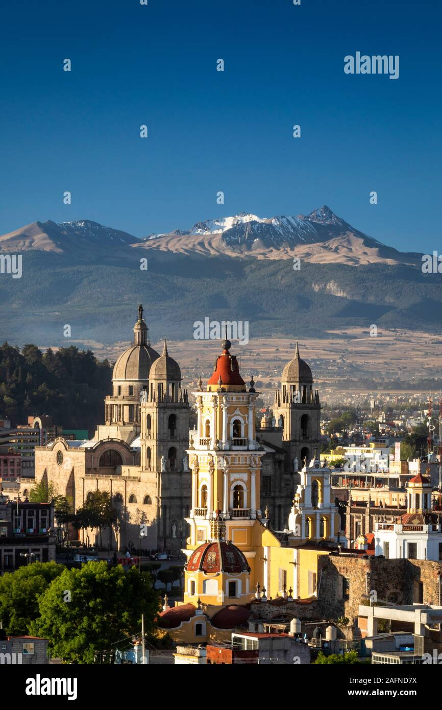 Colonial downtown of Toluca, Mexico with the Nevado de Toluca mountain in the background. Stock Photo