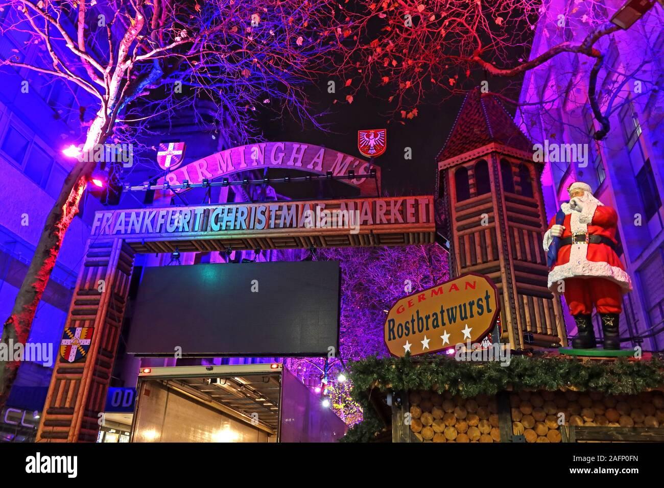 Birmingham  Frankfurt German Christmas Market at Night, New Street, Birmingham, West Midlands, England, UK, B2 4QA - Santa Rostbratwurst Stock Photo