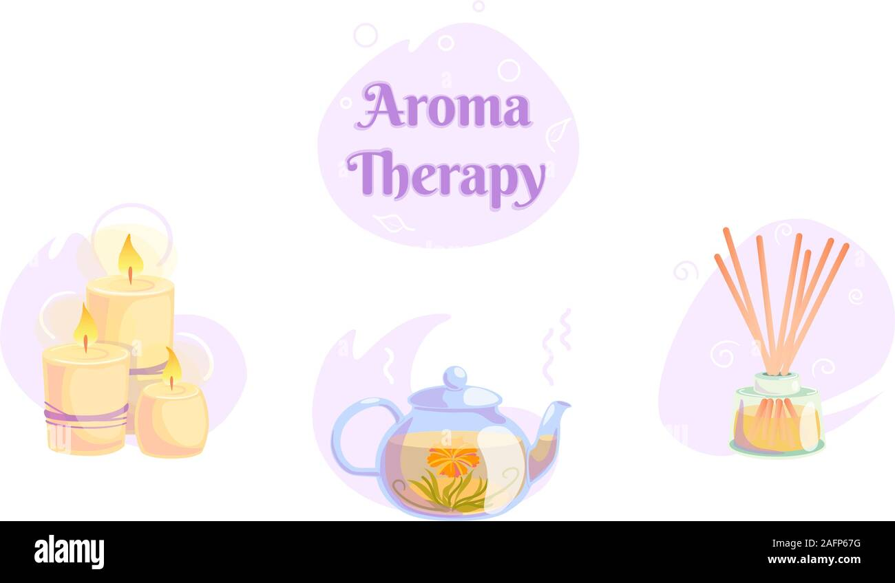 Aromatherapy Icons Set With Candles Blooming Tea Wooden Aroma Sticks In Illustration On Isolated White Background Nature Spa Wellness Relax Concept And Healthy Logo Design Alternative Oriental Zen Stock Vector Image