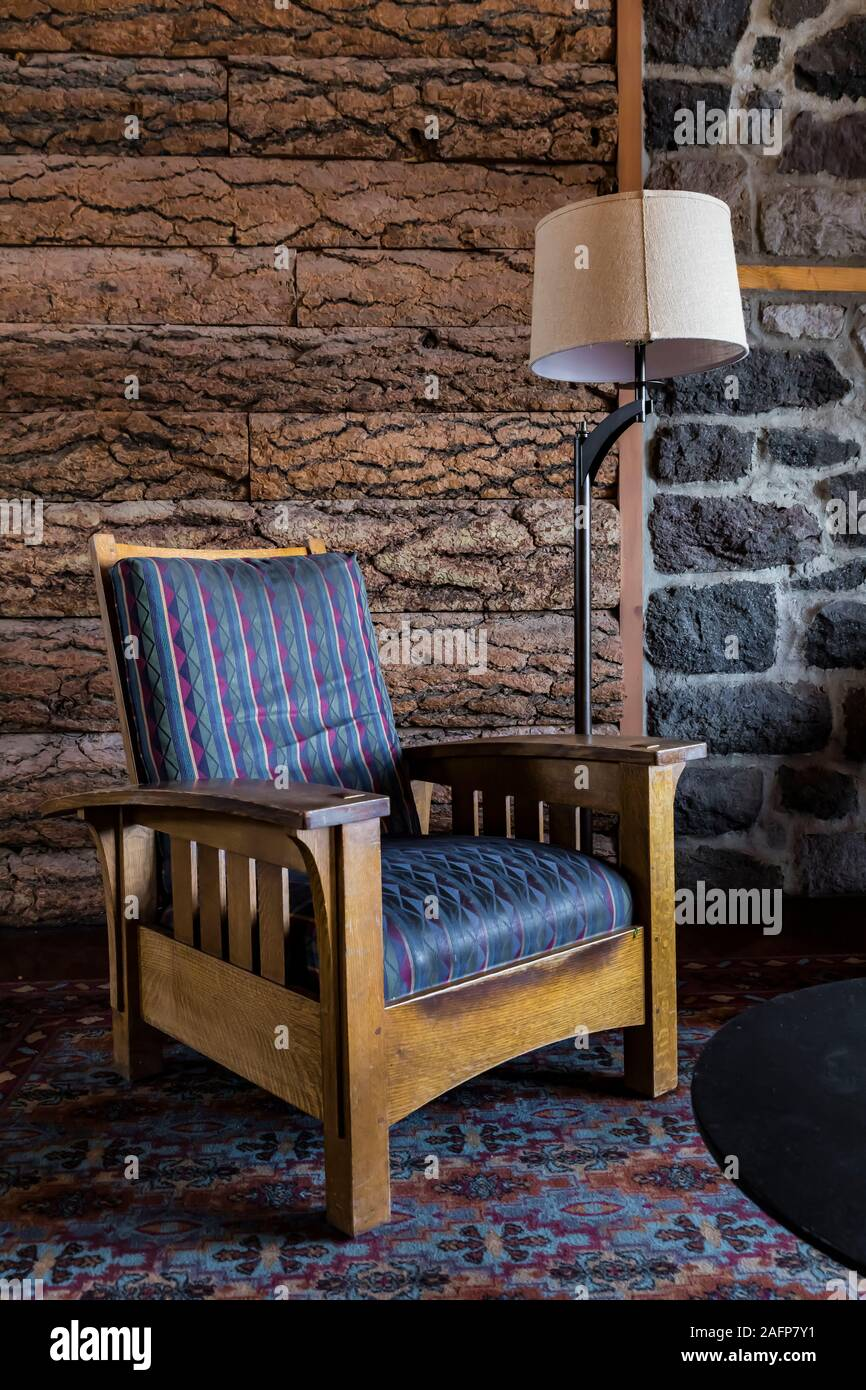 Rustic interior of historic Crater Lake Lodge in Crater Lake National Park in Oregon, USA Stock Photo