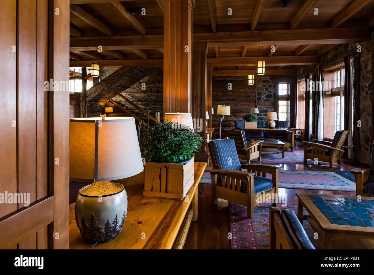 Rustic lobby of historic Crater Lake Lodge in Crater Lake National Park in Oregon, USA Stock Photo