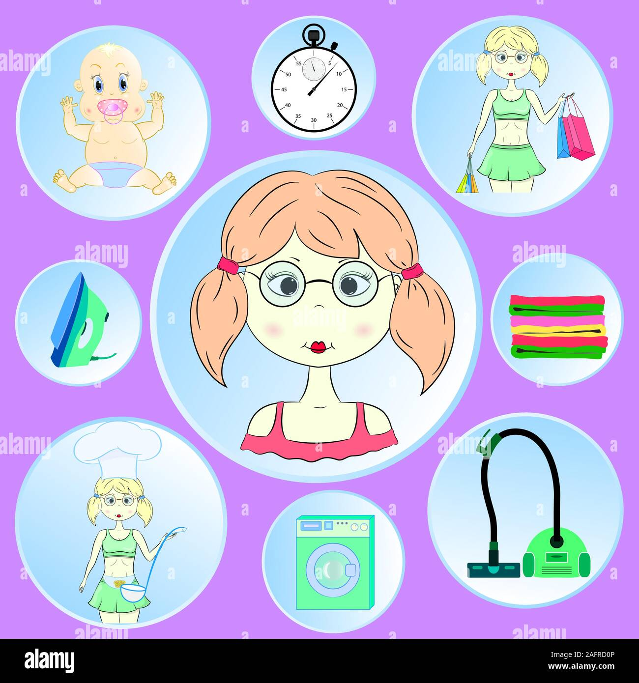 Cute young housewife vector illustration images. Stock Vector