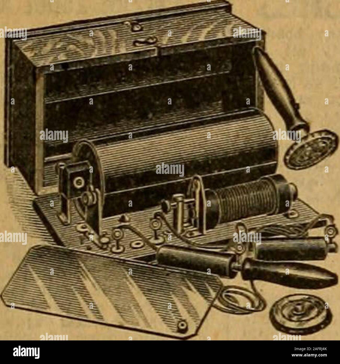 . Catalogue no. 16, spring/summer / R. H. Macy & Co.. Farradic current more and moree^ery day, and our Home Electrical andMedical Apparatus is desigried to provide asafe and simple as well as effective meansof administering this health-giving current;at home, and without any previous knowl-edge of electricity. There are no liquids oracids to confuse, and there is no dangerwhatever in its use. The currents aresmooth and even and can be regulated froman almost imperceptible current, to one thatfew can withstand. The outfit comprises a standard dry cell battery; twosponge electrodes with non-cond Stock Photo