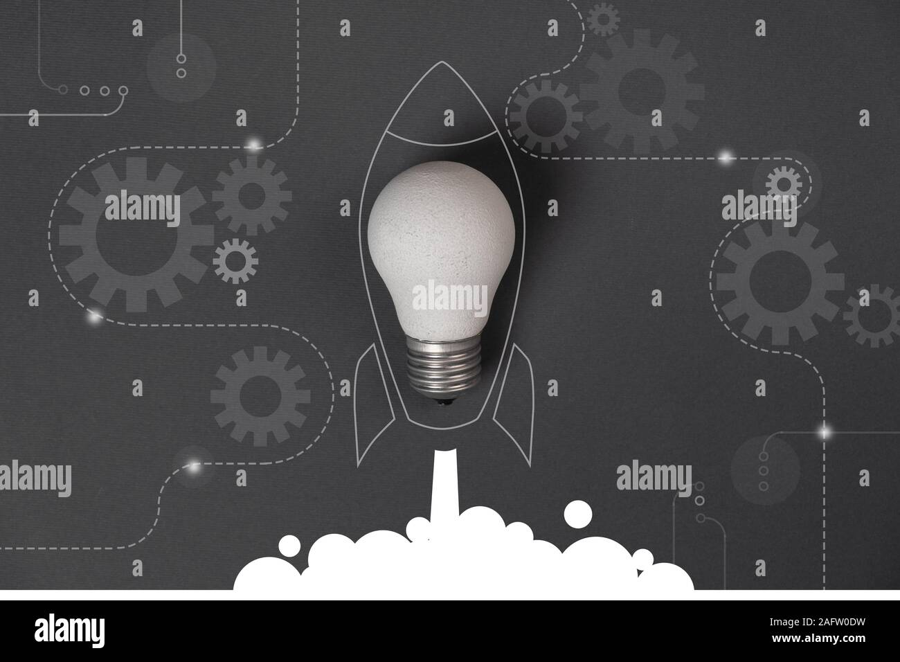 Creative idea concept with crumpled office paper, white light bulb and network connection on virtual interface background, innovative technology in sc Stock Photo