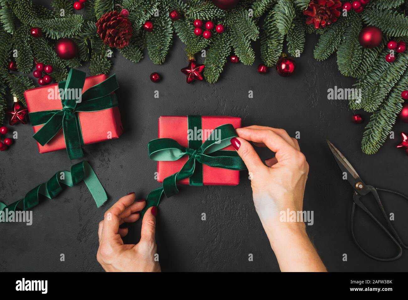 Red Velvet Christmas Balls High Resolution Stock Photography And Images Alamy