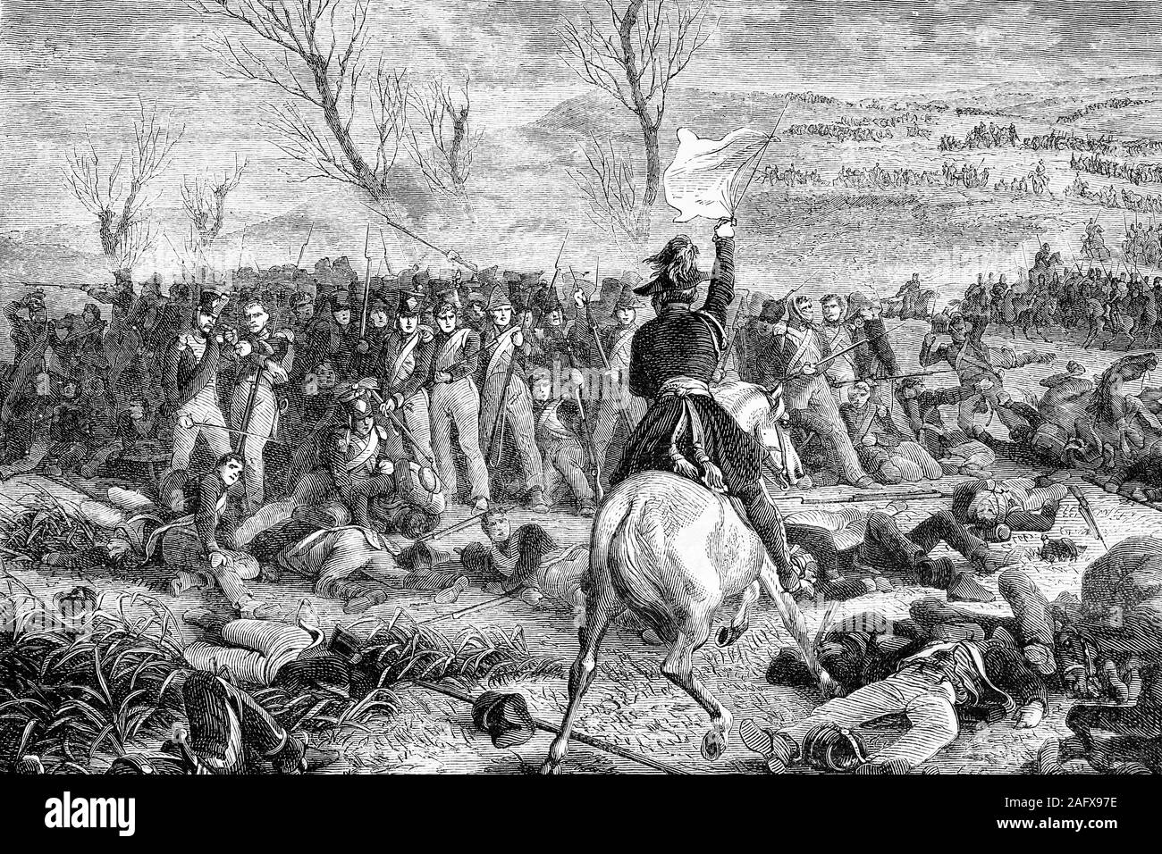 National guards heroism in the swamps of Saint-Gond. Napoleonic wars. Antique illustration. 1890. Stock Photo
