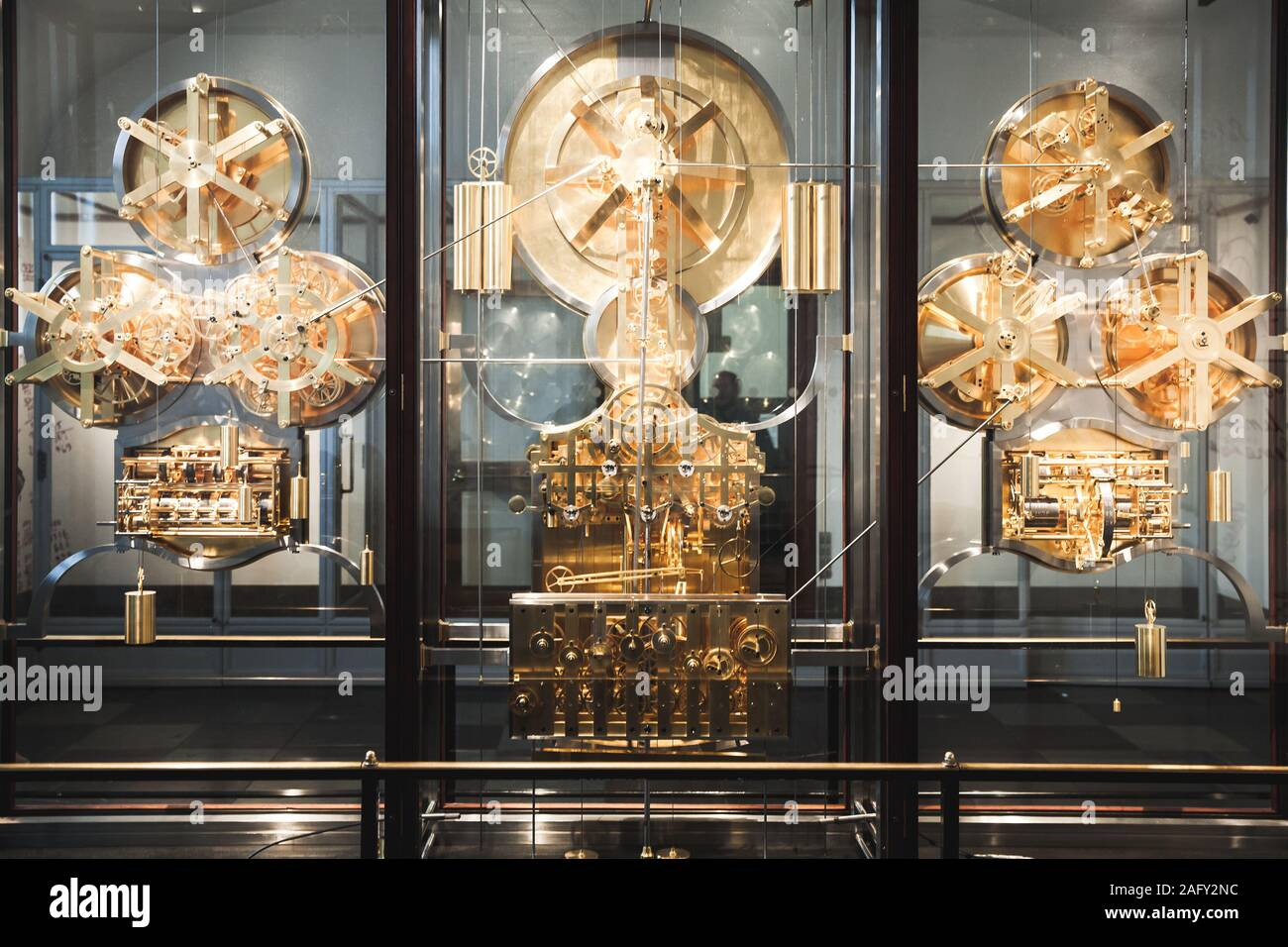 Copenhagen, Denmark - December 9, 2017: Jens Olsen World Clock or Verdensur is an advanced astronomical clock which is displayed in Copenhagen City Ha Stock Photo