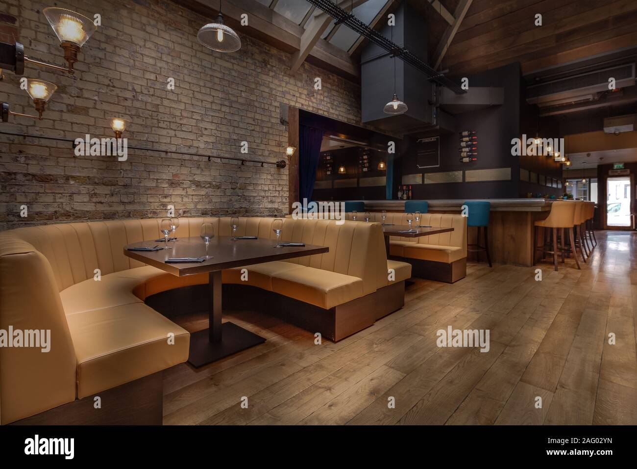 Cozy Wooden Interior Of Restaurant Copy Space Comfortable Modern And Discrete Dining Place Contemporary Design Background Stock Photo Alamy