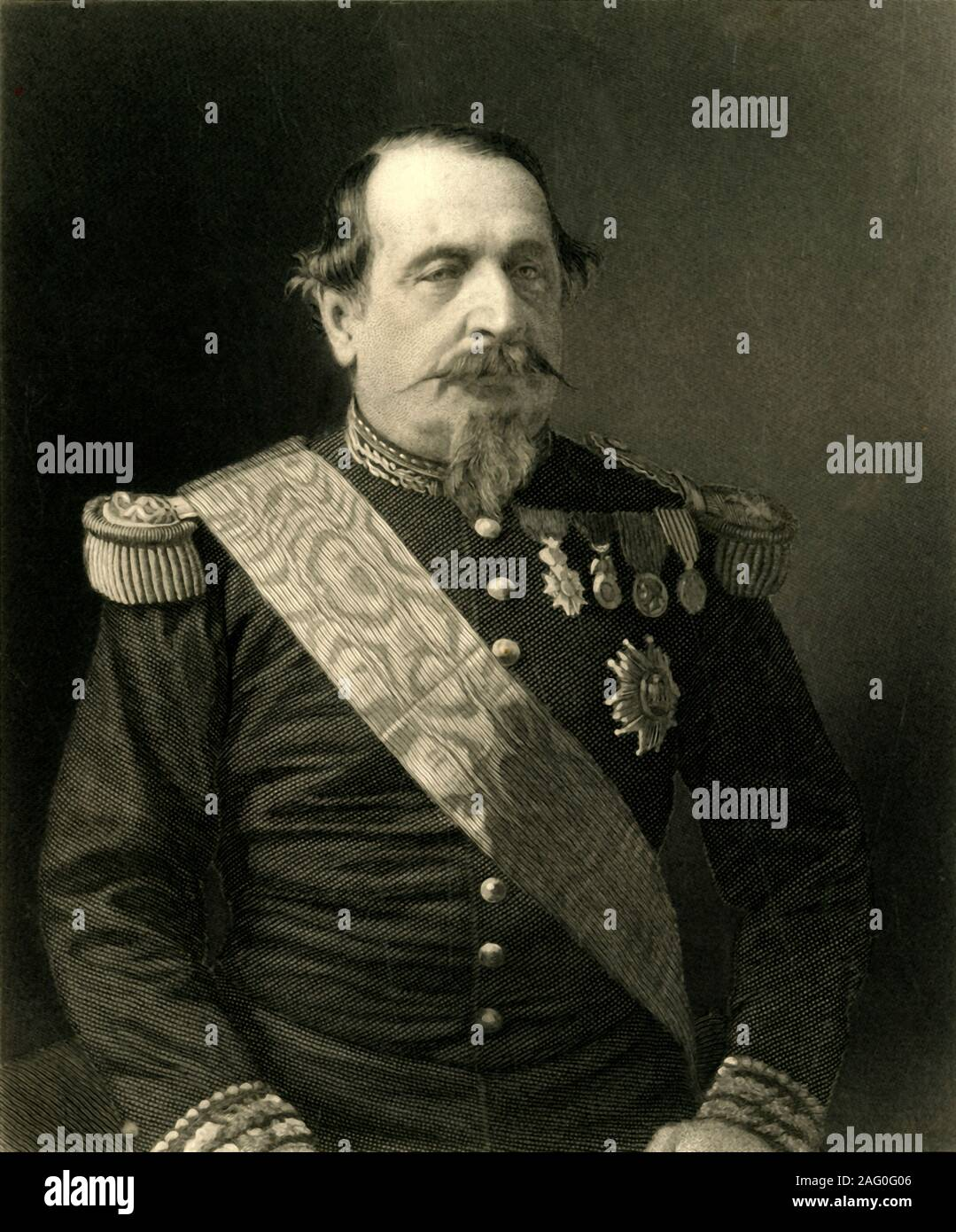 """'Napoleon III', c1872. Portrait of Napoleon (1808-1873), Emperor of France, in military uniform. From """"The Franco-Prussian War: its causes, incidents and consequences"""", Volume I, by Captain H M Hozier. [William Mackenzie, London, 1872] Stock Photo"""