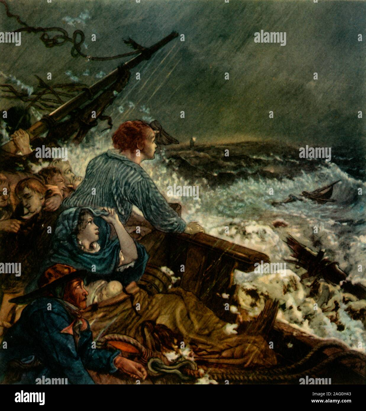 "'Grace Darling and her Father Saving the Shipwrecked Crew, September 8th, 1838', (1942). In 1838 Grace Darling and her father William Darling, a local lighthouse keeper, heroically rescued victims of the wreck of the SS 'Forfarshire' off the Farne Islands. She died from tuberculosis in 1842, aged just 26.  Design made 1857-1858 for the decoration of the inner court of Wallington Hall, Northumberland. From ""English Women"", by Edith Sitwell. [Collins, London, 1942] Stock Photo"