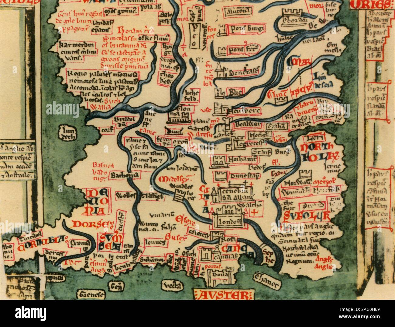 "'Matthew Paris's Map of Great Britain, c.1250', (1944). Detail showing rivers and towns in the south of England and part of Wales. Many place-names are still recognisable today. The word 'Auster', written over the English Channel at the bottom, refers to wind bringing heavy cloud cover and fog. Map drawn by the historian Matthew Paris, a monk at St Alban's Abbey. Cotton MS Claudius D.vi, f.12v, manuscript in the British Library, London. From ""British Maps and Map-Makers"", by Edward Lynam. [Collins, London, 1944] Stock Photo"