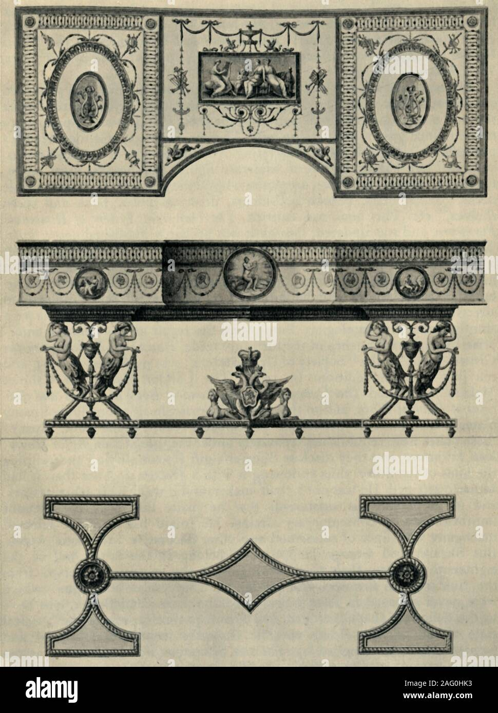 """Design for a harpsichord by Robert Adam, 1774, (1946). 'Executed in London with different coloured woods for the Empress of Russia', Catherine the Great. Plan and side elevation of a musical instrument with marquetry decoration including the double-headed imperial Russian eagle. From """"British Furniture Makers', by John Gloag. [Collins, London, 1946] Stock Photo"""