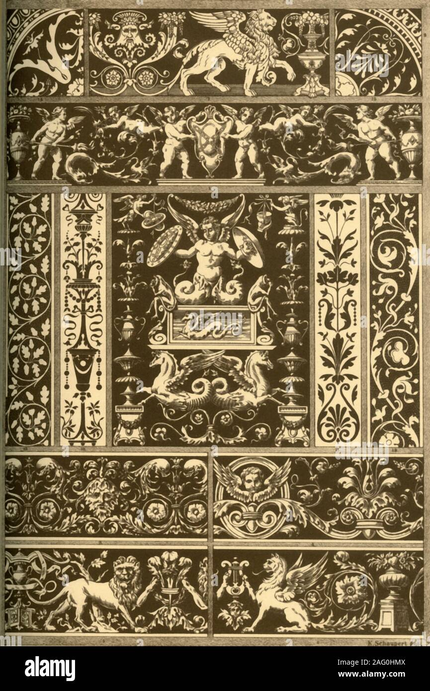 Italian Renaissance sgraffitos, wood-mosaic, marble-mosaic and bas-reliefs, (1898). 'Fig 1: Sgraffito on a house at Rome, Via Giulia Nr. 82. Fig 2: Sgraffito on a house at Rome, Via dei Coronari Nr. 148. Fig 3: Sgraffito on a house at Rome, Vicolo Calabraga Nr. 31 and 32. Fig 4: Sgraffito on a house at Rome, Vigna alla via Porta S. Sebastiano Nr. 27. Fig 5: Sgraffito on a house at Rome, Borgo al vicolo del Campanile Nr. 4. Fig 7: Inlaid marble-Work on the floor of the cathedral at Siena. Figs 8 and 9: Inlaid marble-Work from a tomb-plate in San Giovanni e Paolo at Venice. Fig 10: Inlaid marble Stock Photo