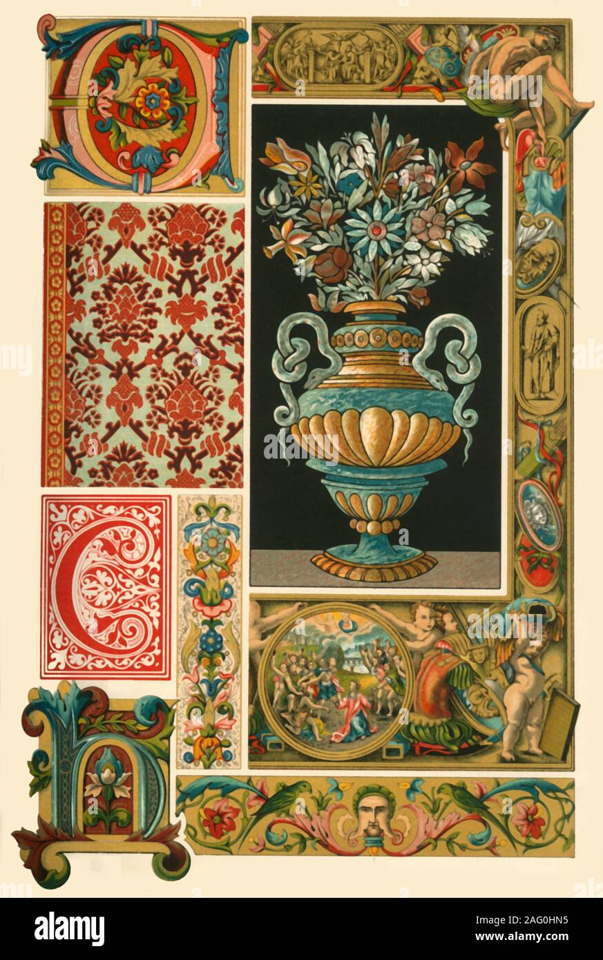 "Italian Renaissance illumination, weaving, and marble-mosaic, (1898). 'Figs 1-6: Paintings from divers manuscripts. Fig 7: Velvet-stuff in the 'Museum vaterländischer Altertümer' at Stuttgart. Fig 8: Border from a silk-stuff. Fig 9: Marble-mosaic from a table in the National Museum at Munich'. Plate 54 from ""The Historic Styles of Ornament"" translated from the German of H. Dolmetsch. [B.T. Batford, London, 1898] Stock Photo"