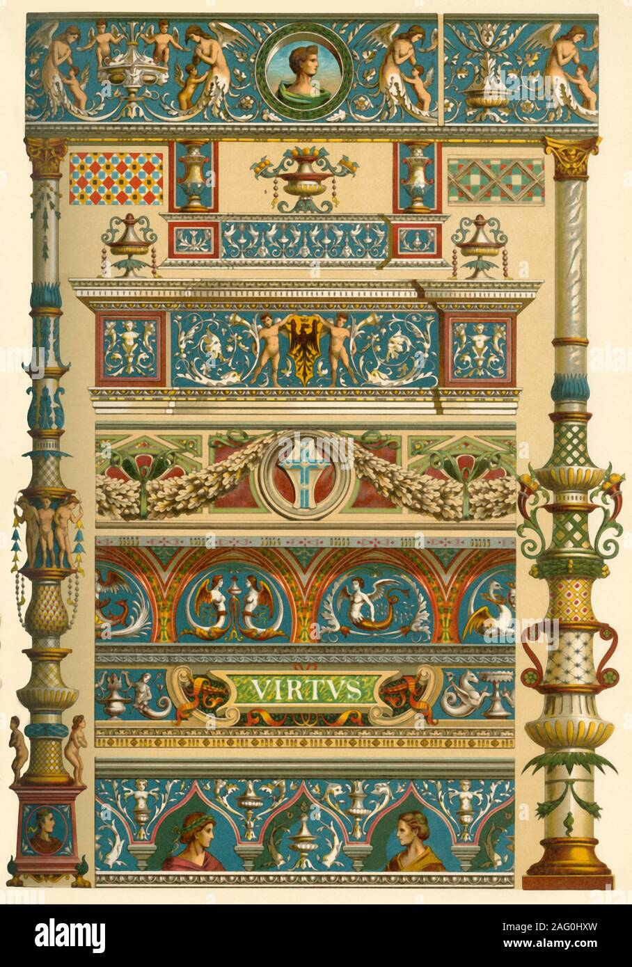 Italian Renaissance ornamental painting, (1898). Examples of painted building facades: 'Figs 1-7: From the front of a house in Genoa (Via San Matteo. Nr, 10). Fig 8: Front of the court of 'Casa Taverna' at Milan. Figs 9-11: Front of the court of Palazzo Piccolomini at Pienza...here we observe above all the vegetable ornament...We find almost everywhere delicate, beautifully curved branches in a symmetrical or at least regular arrangement, in which the antique acanthus-leaf acts the principal part, although, not without the most various transformations. Also vine, laurel, ivy etc. are frequentl Stock Photo