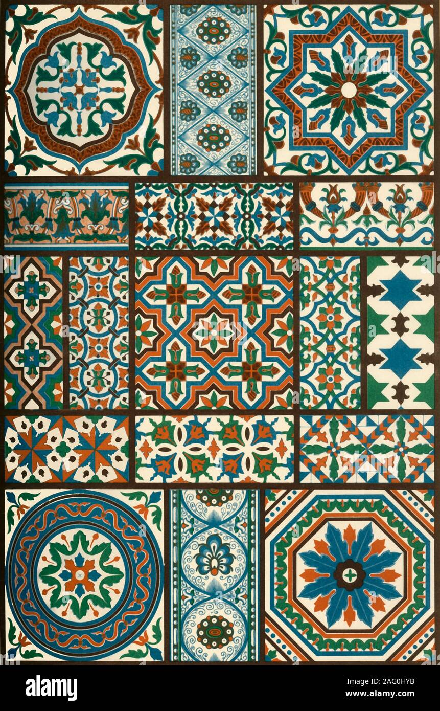 "Italian Renaissance polychrome ceramics, (1898). Examples of painted faïence: 'Figs 1, 6, 9, 11, 12, 13, 14 and 15: Wainscot-plates on the staircase-walls of the house Nr. 26 in Via Luccoli at Genoa. Figs 2, 3, 4, 5, 7, 8 and 10: The same in the house Nr. 10 in Via S. Matteo ibid. Figs 16 and 17: Floor-plates from San Petronio at Bologna...In the manufacture of such tile-floors and wainscot-plates, the school of Della Robbia attained special celebrity, wherefore such plate-mosaics are frequently registered under the name of ""Robbian ware"".'. Plate 46 from ""The Historic Styl Stock Photo"