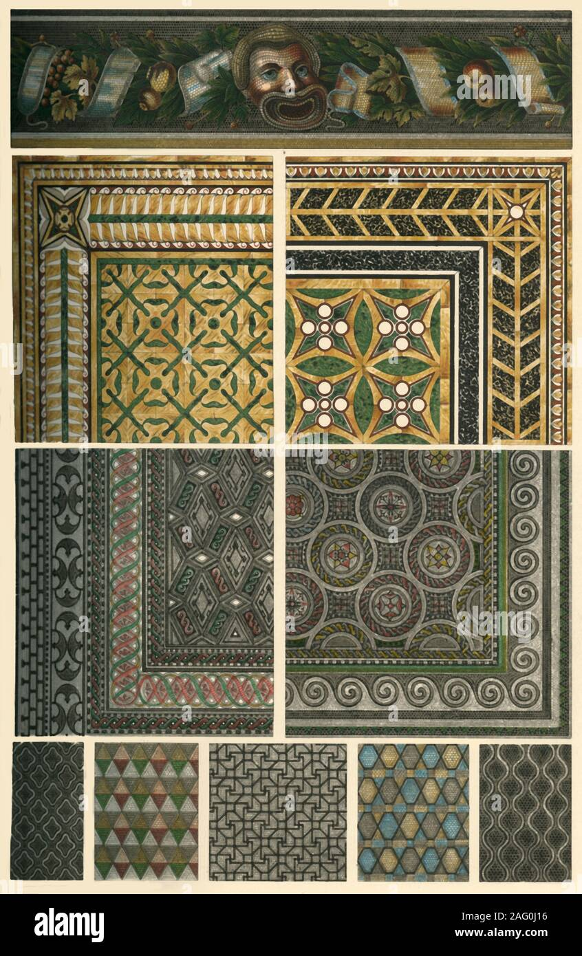 Roman mosaic floors, (1898). 'Fig 1: Mosaic frieze in the house of the Faun at Pompeii [Italy]. Figs 2 and 3: Patterns of plate-mosaic in the Palatine Museum at Rome (drawn by H. Dolmetsch). Figs 4 and 5: Mosaic floors from the Hunting Villa at Fliessem near Treves [Trier, Germany]. Figs 6 and 7: Mosaic floors from Pompeii (drawn by H. Dolmetsch). Figs 8, 9 and 10: The same from the Thermae [Baths] of Caracalla at Rome (drawn by H. Dolmetsch)...Mosaic-work...was carried at last to the culminating point of perfection by the Romans, who produced not only geometrical mosaic-work, as we observe in Stock Photo
