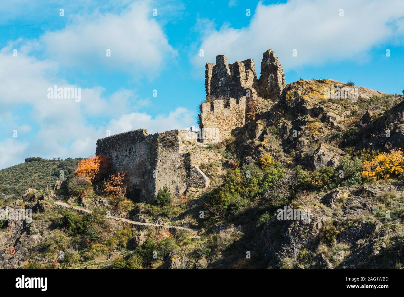 Ruins of medieval cathar castles Lastours in the mountain valley ...