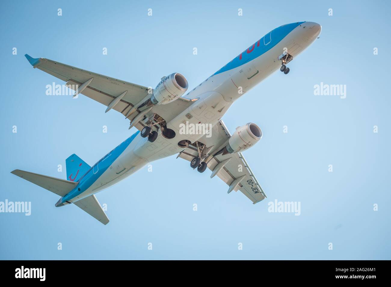 Zakynthos, Greece, August 2019: Big airplane, probably TUI, with landing gear down, under belly view, during landing at Zakynthos International Stock Photo