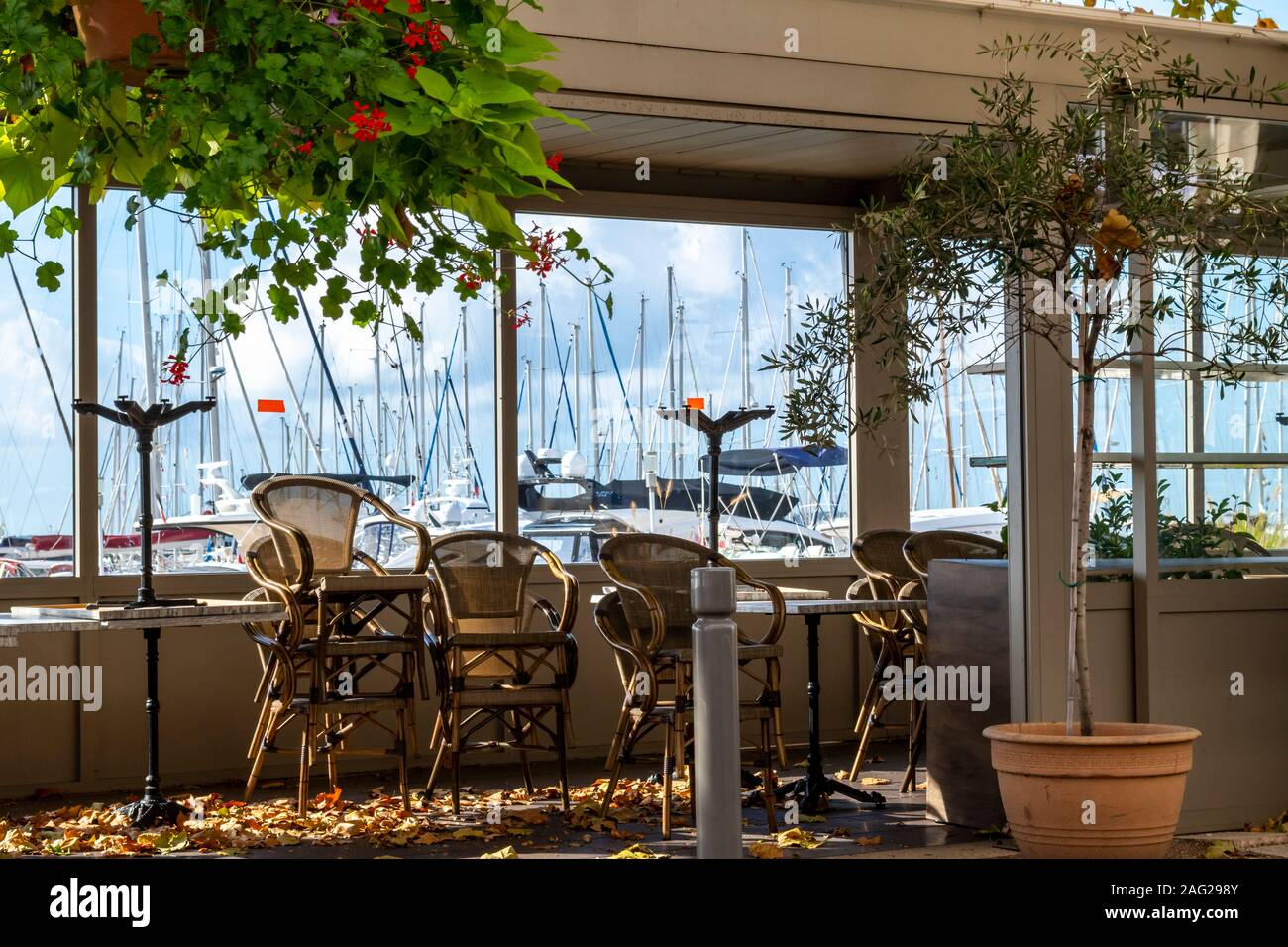 A small, empty covered patio with tables and chairs stacked fills with leaves at the marina of Cannes, France, as autumn starts on the French Riviera Stock Photo