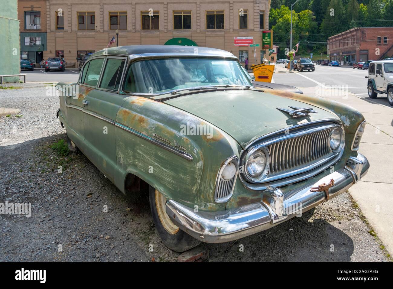 Wallace, Idaho - September 2 2019: A 1956 Nash Ambassador sits in a parking lot in the historic city of Wallace, Idaho, USA Stock Photo
