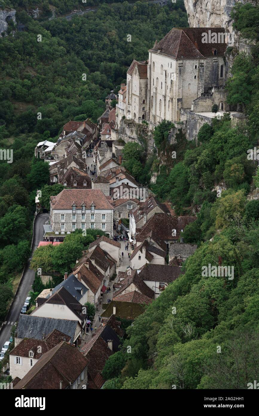 Aerial scenery of Rocamadour, historic Medieval village, with houses built into the side of a cliff in Southern France, Rocamador, Lot. Stock Photo