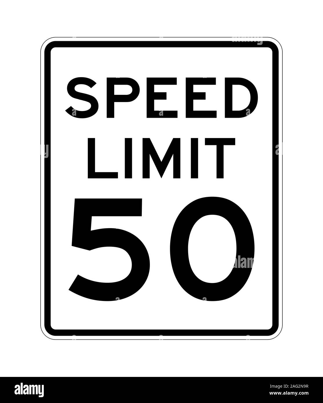 Speed limit 50 road sign in USA Stock Photo