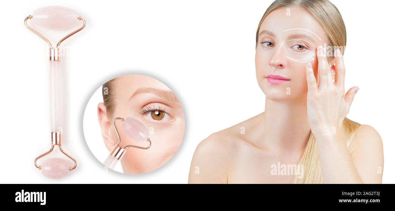 Anti Aging Treatment Wrinkles Under Eye With Jade Roller Woman