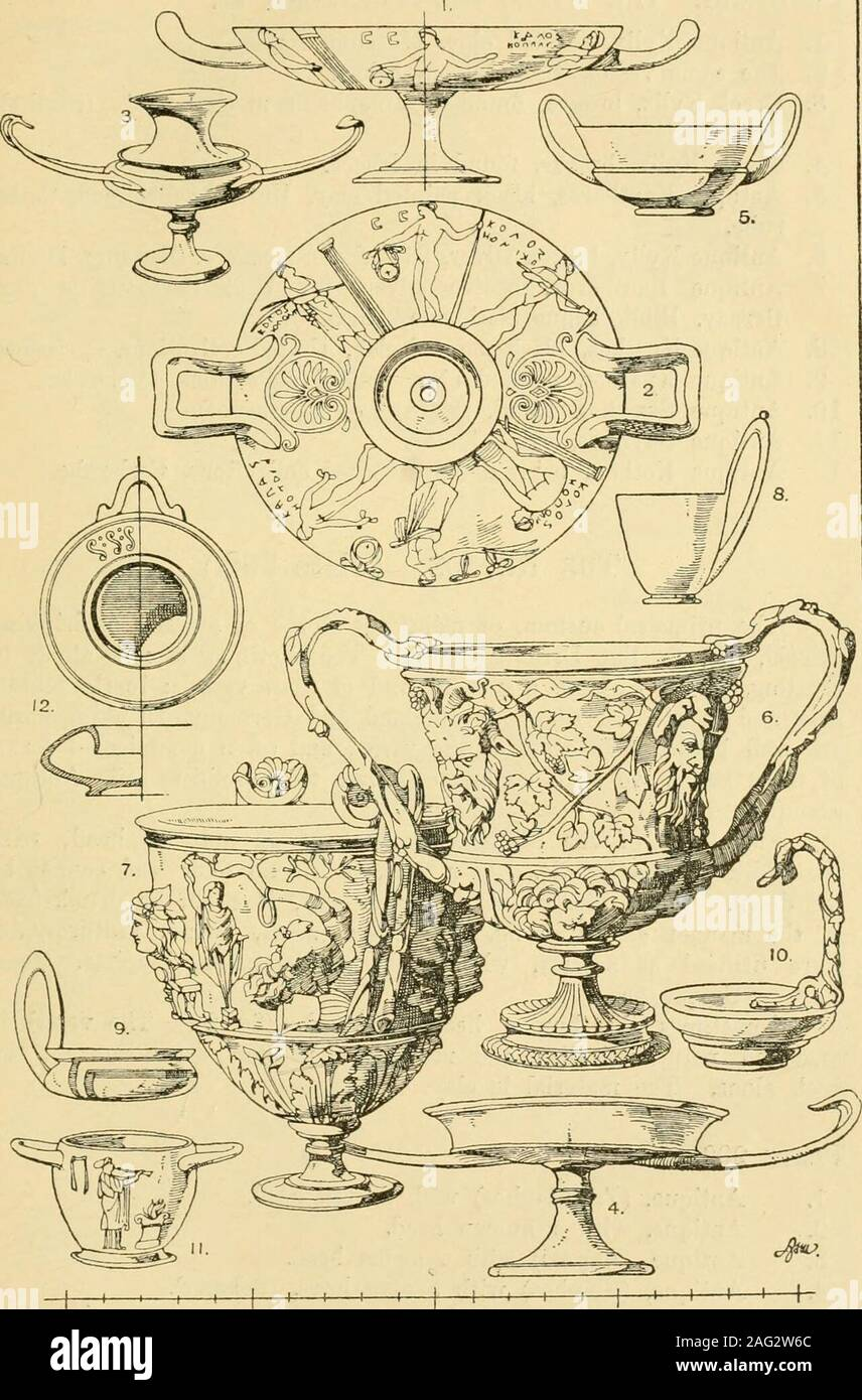 . Handbook of ornament; a grammar of art, industrial and architectural designing in all its branches, for practical as well as theoretical use. rnal;the simplicity in clay (fig. 5), passes into richness when metal is em-ployed (figs. 6—7). Bacchic attributes, the vine, ivy, the thyrsos,masks, &c,, from the decoration. The Kyathos, a dipper and drinking vessel at once, is a dishwith the handle elongated vertically and sometimes replaced by astraight handle, which gives the vessel somewhat of the appearence ofa spoon (figs. 8, 9, 10). The Skyphos is a dish with two horizontal handles (figs. 11); Stock Photo